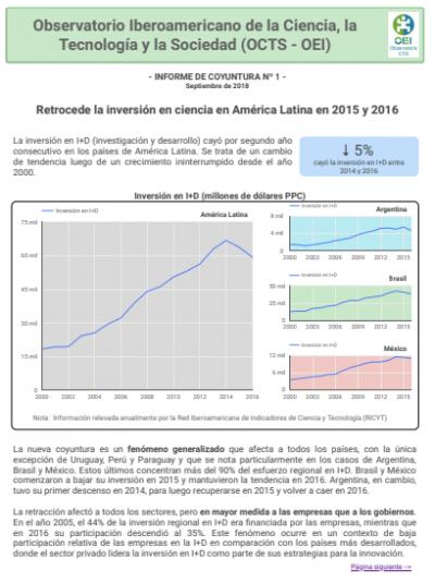 Informe de coyuntura N° 01: Retrocede la inversión en ciencia en América Latina